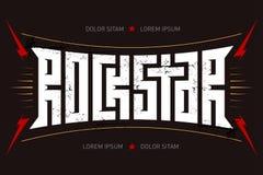 Rockstar - koszulka projekt Gwiazda Rocka - muzyczny plakat z czerwonym lig ilustracja wektor