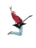 Rockstar mit einem Gitarrenspringen Stockbild