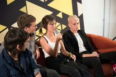 Rockstar press conference. BONTIDA, ROMANIA - JULY 19, 2018: British alternative rock band Wolf Alice answering questions during a press conference at Electric stock photo