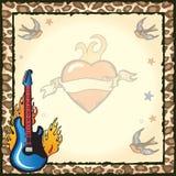 Rockstar-Tätowierung-Party-Einladung Lizenzfreies Stockfoto