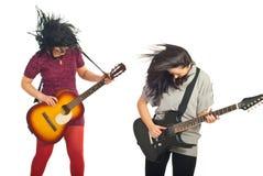 Rockstars Bandmädchen mit Gitarren Lizenzfreie Stockfotografie