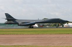 Rockwell B1 Lancer. A Rockwell B1 Lancer touches down stock photo
