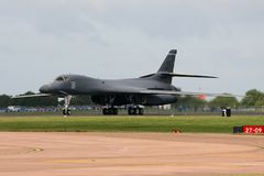 Rockwell B1 Lancer. A Rockwell B1 Lancer touches down royalty free stock photography