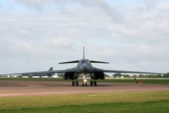 Rockwell Lancer B-1B. A Rockwell Lancer B-1B taxiing at Fairford Uk stock photo