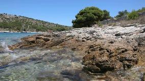 Rocky Adriatic coast stock video footage