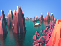 Rocky area and lake. 3D rendering: rocky area and lake with motorboat Royalty Free Stock Photography
