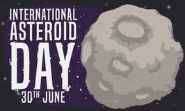 Rocky Asteroid con il saluto per celebrare giorno a forma di stella internazionale, illustrazione di vettore illustrazione di stock