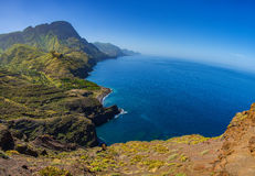 Rocky atlantic coast in the west part of Gran Canaria island Royalty Free Stock Photos