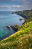 Rocky Atlantic coastline on Causeway Coastal Route. Natural beauty of Antrim Coast, Northern Ireland Royalty Free Stock Image