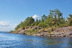 Rocky bank of the Ladoga lake. The high rocky coast of Ladoga lake covered with wood stock photos