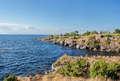 Rocky bank of the Ladoga lake. The high rocky coast of Ladoga lake covered with wood royalty free stock image