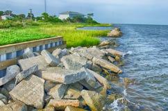 Rocky banks on Ocracoke Island of North Carolina's Outer Banks stock photography