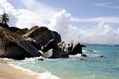 Rocky Baths Beach. A picturesque view of the rocky Baths beach on the Virgin Gorda Island in the British Virgin Islands Royalty Free Stock Images