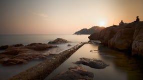 Rocky Bay. Wave crashing in a rocky Stock Photos