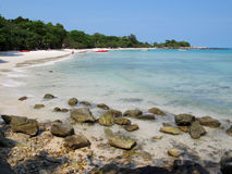 Rocky bay and beach on island, eastern part of Thailand. Royalty Free Stock Photos