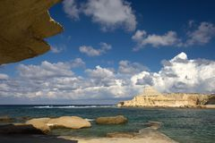 Rocky Bay, Malta. Rocky coastline on Gozo, Malta Stock Photos