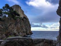 Rocky bay under fortress Lovrijenac. Beautiful bay wirh fortress Lovrijenac in Dubrovnik, croatia stock images