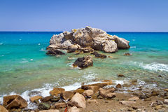Rocky Bay view with blue lagoon. On Crete, Greece Royalty Free Stock Photography