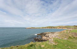 Rocky bays close to Cemaes Bay in Anglesey. North Wales Royalty Free Stock Images
