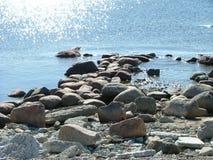 Rocky beach. With big rocks Stock Photography