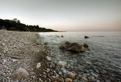 Rocky beach. A rocky beach by the lake Stock Images