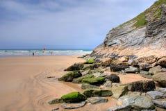 Rocky beach. Lusty Glaze beach in Newquay, Cornwall, UK stock image