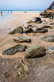 Rocky beach. Lusty beach in Newquay, Cornwall, UK royalty free stock image
