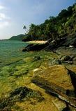 Rocky beach. Rocky caribbean island coast line Stock Photography