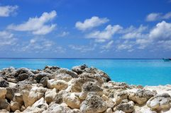 Rocky Beach. On the Maldives Royalty Free Stock Images