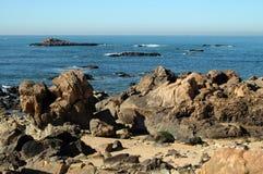 Rocky beach. Rocky coast of the atlantic sea in Portugal Stock Photo