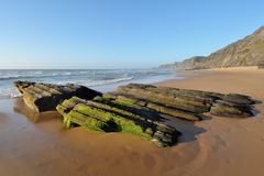 Rocky beach in Algarve Stock Photos