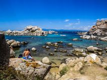 Rocky beach. Amazing beach with crystal water and rocks in Lavezzi, Corsica, France Royalty Free Stock Photography