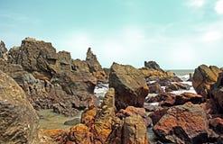 Rocky Beach Arambol Beach in Goa India Fotografia Stock