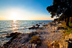 Free Rocky Beach At Low Sun In Croatia Stock Images - 70306874