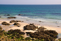 Rocky beach in the atlantic coast. In Brittany, France Stock Images