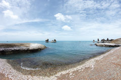 Rocky beach and awesome blue sea water - beauty of nature Royalty Free Stock Photo