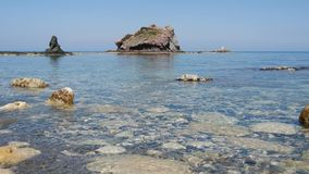 Rocky beach and azure blue waters of the Mediterranean sea. Concept travel. stock video