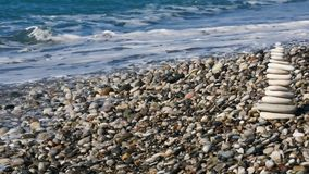 Rocky beach and azure blue waters of the Mediterranean sea. Concept travel. stock footage