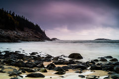 Rocky Beach. Beautiful rocky beach with mountains Royalty Free Stock Photo
