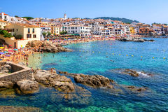 Rocky beach in Calella de Palafrugell, a popular resort town  Royalty Free Stock Photo