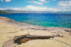 Rocky beach and coastline of Adriatic sea Royalty Free Stock Images