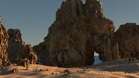 A Rocky Beach. A Computer Generated Beach with Big rocks at the oceans edge stock image