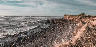 Rocky Beach con la scogliera nella sera Fotografia Stock Libera da Diritti