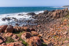 Rocky Beach Cove Ocean Coastline. Rocky beach cove summer ocean waves summer coastline landscape Royalty Free Stock Photos