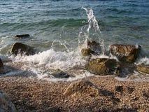 Rocky beach in Croatia. Wild croatian beach with rocks Stock Image