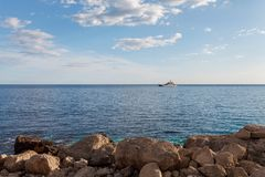 Rocky beach at day. Bay of Laspi. Crimea. Ukraine Stock Photo