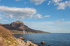 Rocky beach at day. Bay of Laspi. Crimea. Ukraine Stock Photography