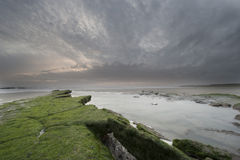 Rocky beach. In france on a cloudy evening Royalty Free Stock Photography