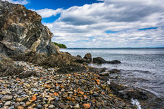 Rocky beach on Frenchman Bay, seen on Mount Desert Island, Bar H Royalty Free Stock Image