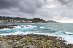Rocky beach in the Galician littoral Stock Photos